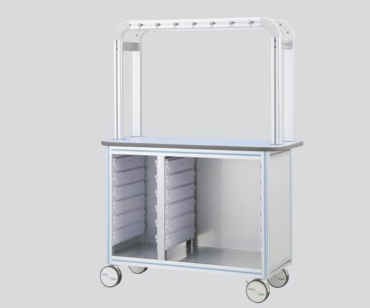 点滴作業台(片面型・アルティアトレー対応タイプ)壁際にすっきり設置できる片面型 OT12-2LP 1200×500×1650mm ピンク スタンダードタイプ×1列、ハーフタイプ×1列