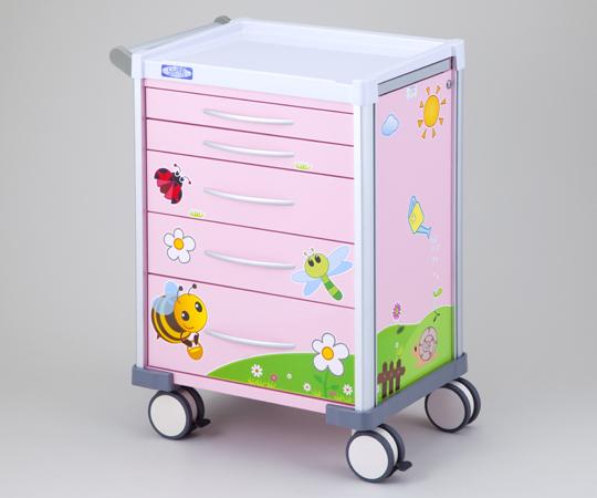 小児科用カート 可愛いイラスト入りカート LX3405PRO ピンク 690×540×930(ハンドル含まず)