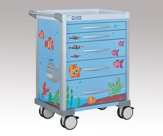 小児科用カート 可愛いイラスト入りカート LX3405PROS ブルー 690×540×930(ハンドル含まず)