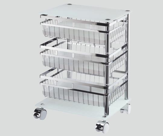 回転式保管ワゴン FLF006-3LG-WHT 棚タイプ 3段 380×320×540mm 【代引き不可】