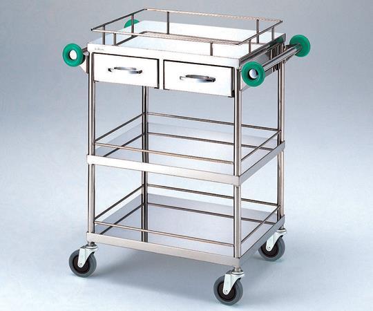 とっても静かな回診車 (引出し2個付き・抗菌ハンドル仕様) TSC-600K 3段 600(790)×450×900mm 25.1kg 【代引き不可】
