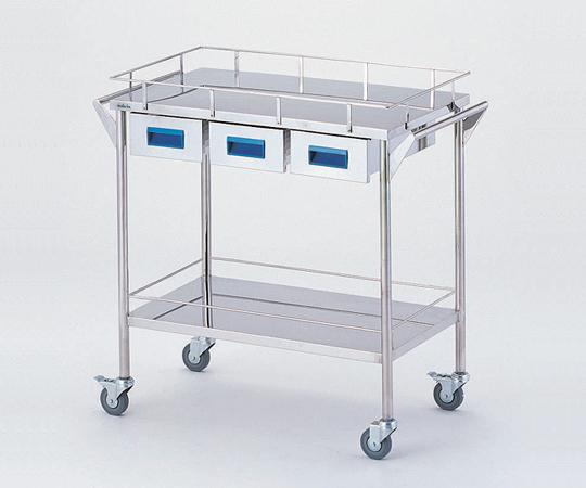 ストレージステンレスカート CHW-2H 750×450×835mm 18kg 引出し付きで小物の収納に便利です【代引き不可】