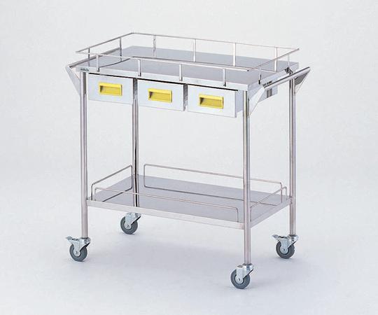 ストレージステンレスカート CHW-2H-Y 750×450×835mm 18kg 引出し付きで小物の収納に便利です 【代引き不可】