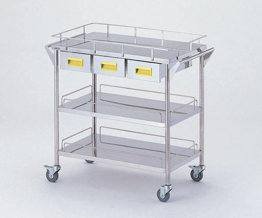 ストレージステンレスカート CHW-3H-Y 750×450×835mm 22kg 引出し付きで小物の収納に便利です 【代引き不可】