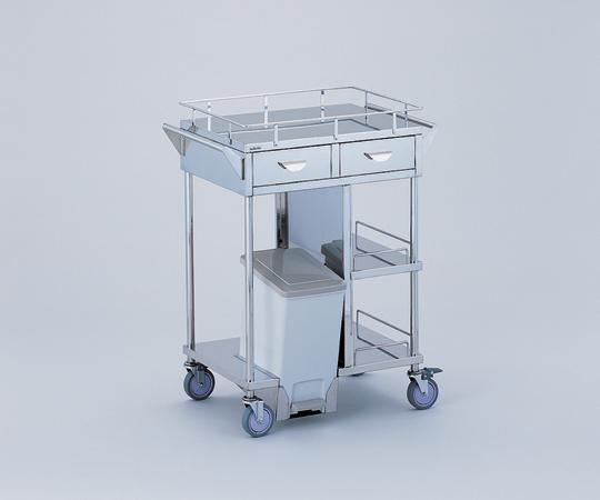 処置車 足踏式ペールを内部に装備 KSC-PFH 引出し付き/ペール前向き 600×450×855mm