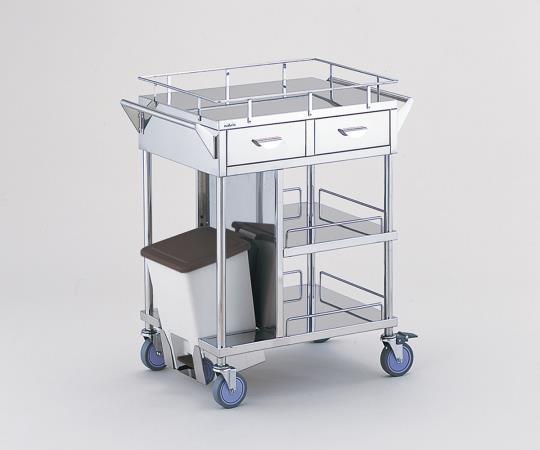 処置車 足踏式ペールを内部に装備 KSC-PSH 引出し付き/ペール横向き 600×450×855mm
