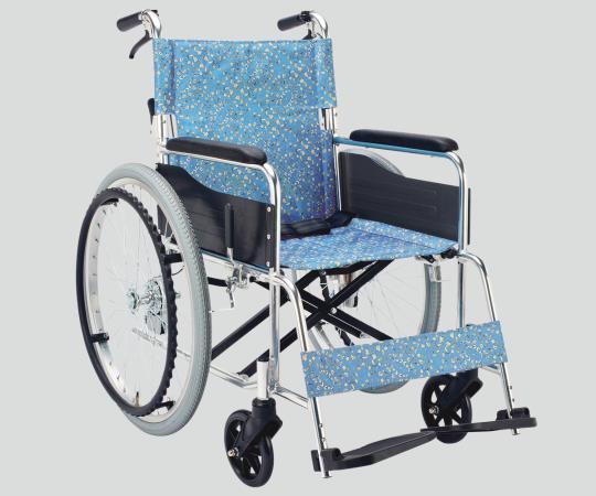 車椅子 (アルミ製) EX-50KS 自走式 小花ブルー 640×995×875mm