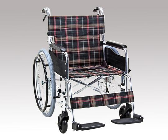 車椅子 (アルミ製背折れタイプ) KS50-4643GC 自走式 グリーンチェック 695×995×890mm