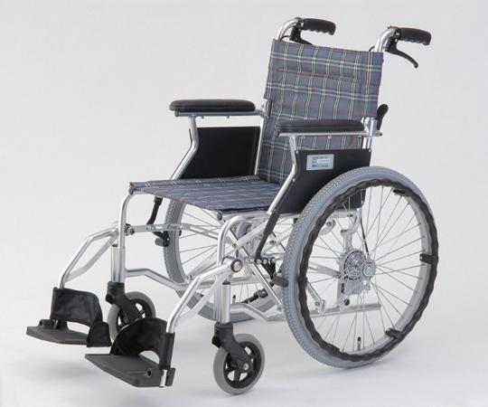 自走介助式車椅子(アルミ製・背折れタイプ) HTB-20D-CB(チェックブルー) 自走式 630×970×850mm