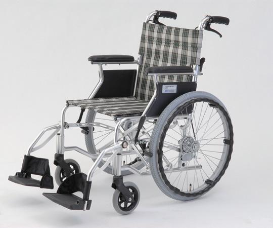 自走介助式車椅子(アルミ製・背折れタイプ) HTB-20D-CG(チェックグリーン) 自走式 630×970×850mm