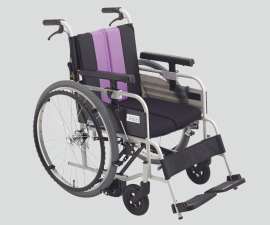 ノンバックブレーキ車椅子 (アルミ製) MBY-47B パープル 自走式 標準 640×980×900mm