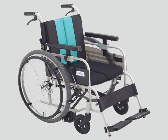 ノンバックブレーキ車椅子 (アルミ製) MBY-47B エメラルド 自走式 標準 640×980×900mm