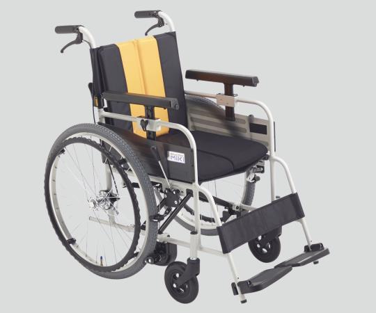 ノンバックブレーキ車椅子 (アルミ製) MBY-47B イエロー 自走式 標準 640×980×900mm