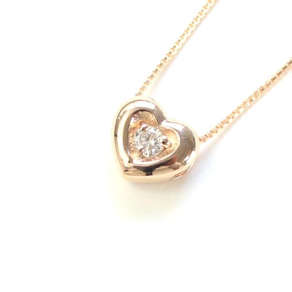 18金ピンクゴールド 天然ダイヤモンド ぷっくりハート プチデザイン ペンダント ネックレス【代引不可】