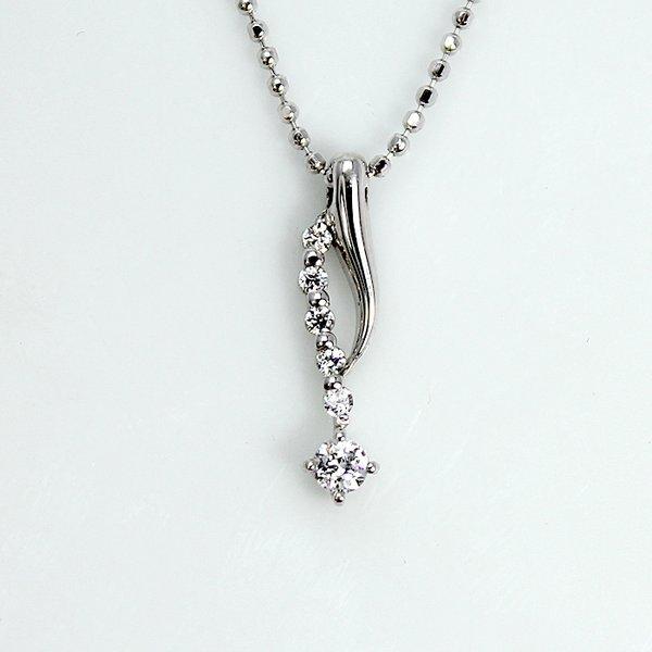 0.1ct 天然ダイヤモンド 6ストーン デザイン ペンダント ネックレス【代引不可】
