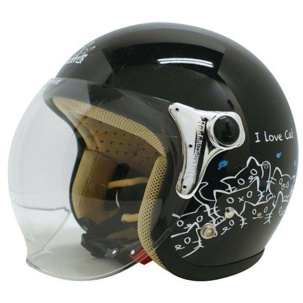 ダムトラックス(DAMMTRAX) ジェットヘルメット CARINA P.ブラック-CAT レディースフリー(57~58cm)