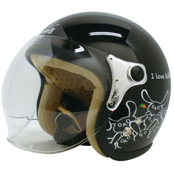 ダムトラックス(DAMMTRAX) ジェットヘルメット CARINA P.ブラック-RABBIT レディースフリー(57~58cm)