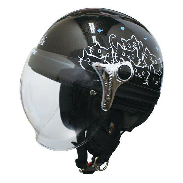 ダムトラックス(DAMMTRAX) ハーフヘルメット CARINA HARF(カリーナハーフ) ブラック/CAT レディース(57cm~58cm)