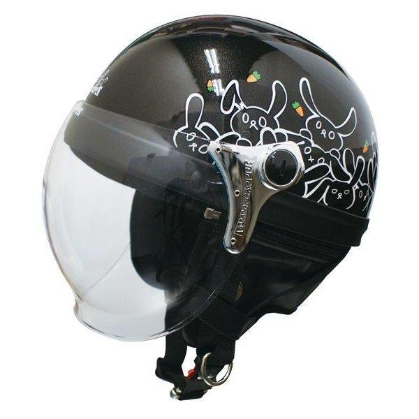 ダムトラックス(DAMMTRAX) ハーフヘルメット CARINA HARF(カリーナハーフ) ブラック/RABBIT レディース(57cm~58cm)