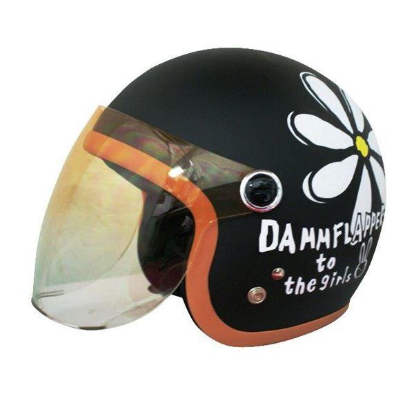 ダムトラックス(DAMMTRAX) ヘルメット フラワージェット マットブラック レディースサイズ(57CM~58CM)