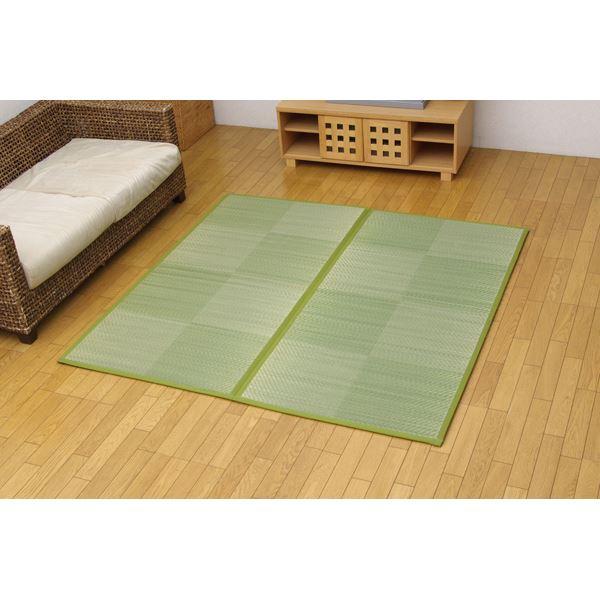 純国産 い草花ござ 『STノア』 グリーン 江戸間2畳(約174×174cm)(裏:ソフトテック15mm)