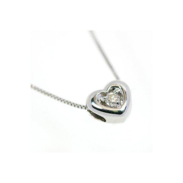18金ホワイトゴールド 天然ダイヤモンド ぷっくりハート プチデザイン ペンダント ネックレス【代引不可】