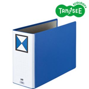 (まとめ)両開きパイプ式ファイル A4-E 100mmとじ 青 10冊