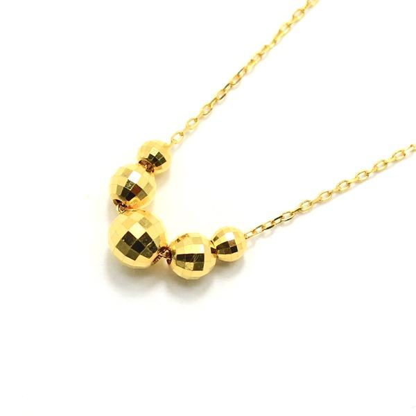 純金 K24 ミラーボールチャーム付き ペンダント ネックレス アズキチェーン【代引不可】