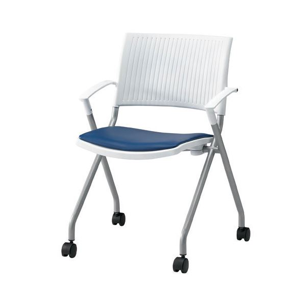 ジョインテックス 会議椅子(スタッキングチェア/ミーティングチェア) 肘付き 座面:合成皮革(合皮) キャスター付き FJC-K6AL NV 【完成品】