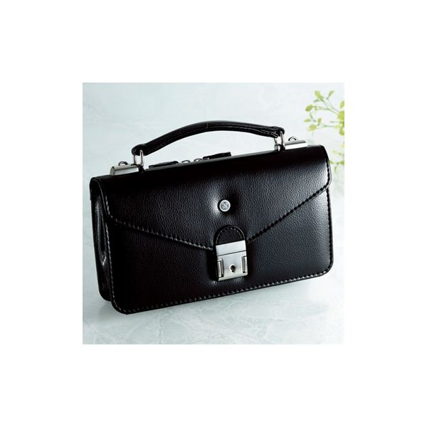 【日本製】家紋付 礼装多機能バッグ (小) 鍵付◆左三つ巴 backs-19