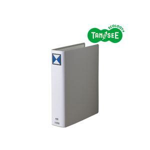 (まとめ)TANOSEE 両開きパイプ式ファイル A4タテ 50mmとじ グレー 30冊
