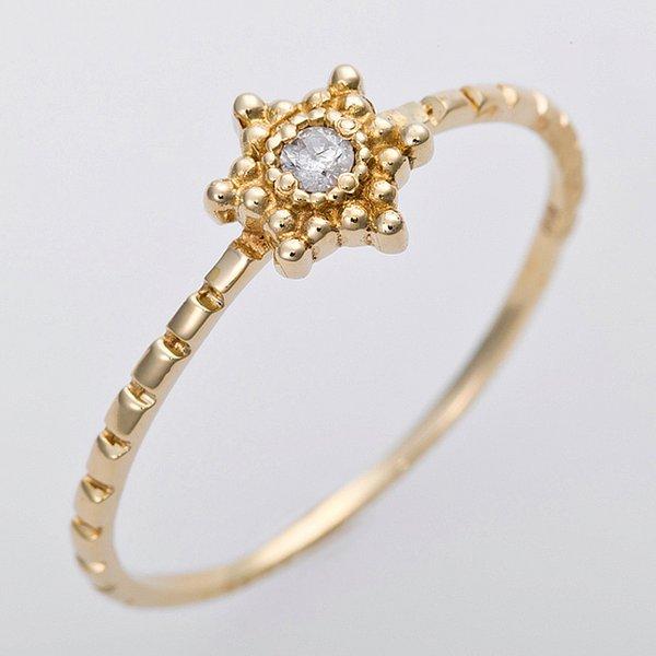 ダイヤモンド リング K10イエローゴールド 12.5号 ダイヤ0.03ct アンティーク調 星 スターモチーフ