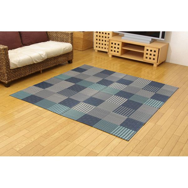 純国産 日本製 い草花ござカーペット 『京刺子』 ブルー 本間8畳(約382×382cm)