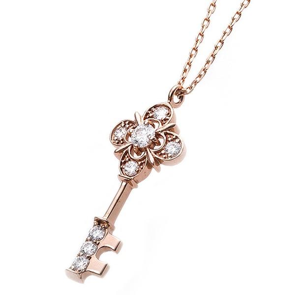 ダイヤモンド ネックレス キー 0.11ct K18 ピンクゴールド 鍵 キーモチーフ ペンダント 鑑別カード付き