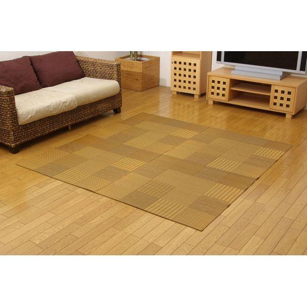 純国産 日本製 い草花ござカーペット 『京刺子』 ベージュ 本間6畳(約286×382cm)