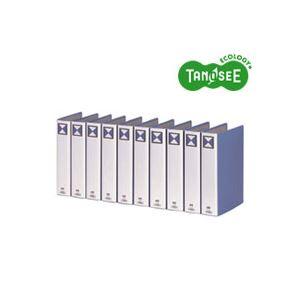 (まとめ)TANOSEE 両開きパイプ式ファイル A4タテ 50mmとじ 青 30冊