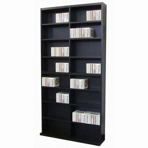 CD&DVDラック/収納棚 【ブラック】 幅90cm×奥行17.5cm×高さ180cm 可動棚16枚付き DUCD-720BK 〔本/CD/DVD収納〕