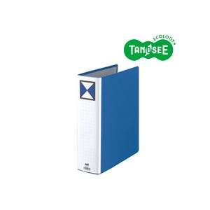 (まとめ)TANOSEE 両開きパイプ式ファイル A4タテ 70mmとじ 青 30冊