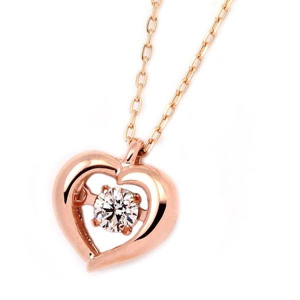 ダイヤモンドペンダント/ネックレス 一粒 K18 ピンクゴールド 0.08ct ダンシングストーン ダイヤモンドスウィングネックレス ハートモチーフ 揺れる ダイヤ 揺れるダイヤが輝きを増す☆