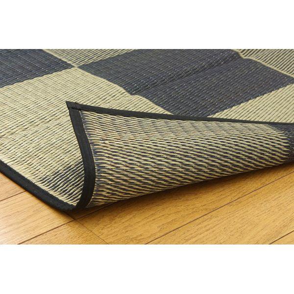 純国産/日本製 い草ラグカーペット 『ブロック2』 グレー 約191×250cm