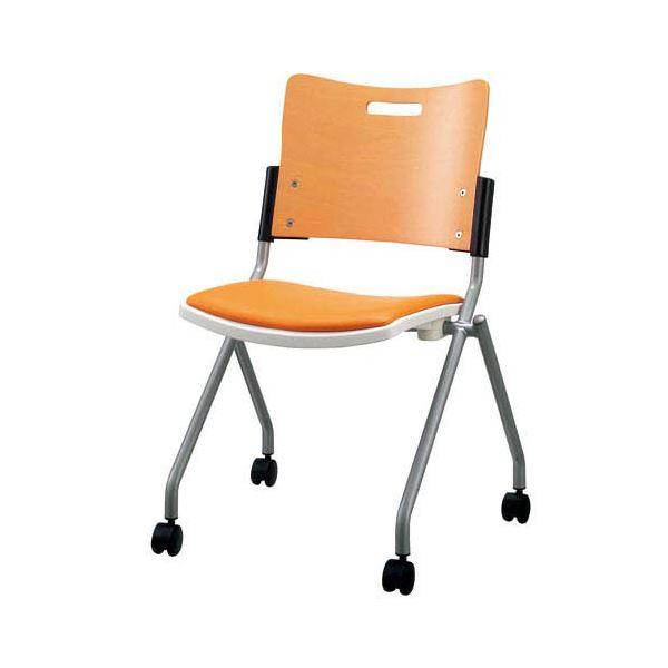 ジョインテックス 会議椅子(スタッキングチェア/ミーティングチェア) 肘なし 座面:合成皮革(合皮) キャスター付き FJC-K8L OR 【完成品】