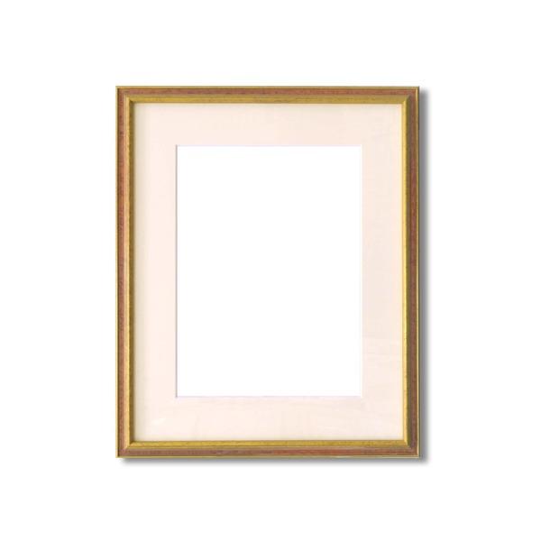 水彩額縁/フレーム 【F8号/エンジ】 壁掛けひも/アクリル/マット付き 化粧箱入り 9714