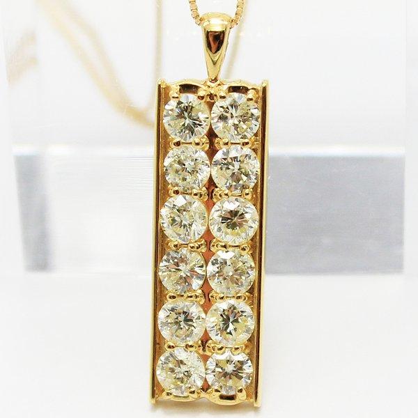 18金 イエローゴールド 2ct ダイヤモンド プレート デザイン ペンダント【代引不可】