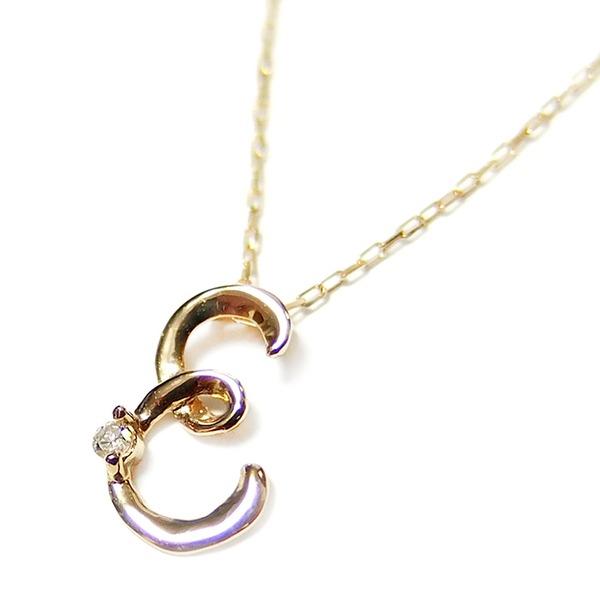 イニシャル ネックレス ダイヤモンド ネックレス 一粒 0.01ct K18 ゴールド 文字 E ダイヤネックレス ペンダント