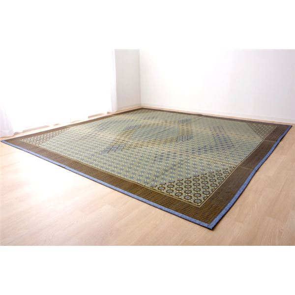 い草ラグ 国産 ラグマット カーペット 約3畳 正方形 『DX組子』 グレー 約191×250cm (裏:不織布)