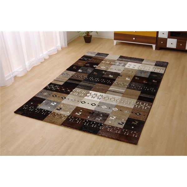 トルコ製 輸入ラグマット ウィルトン織りカーペット ギャベ柄 『フォリア』 ベージュ 約160×230cm