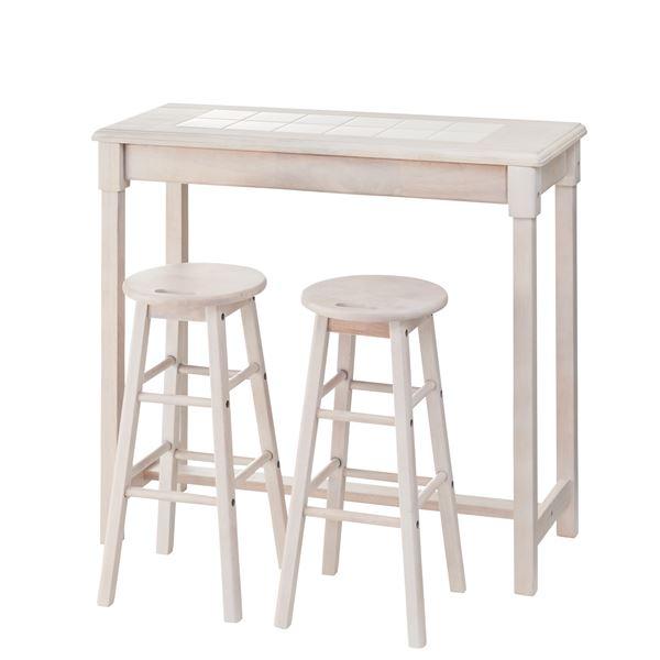 木製カウンターテーブル/コーヒーテーブル 【スツールセット】 幅95cm ホワイト NET-588WH