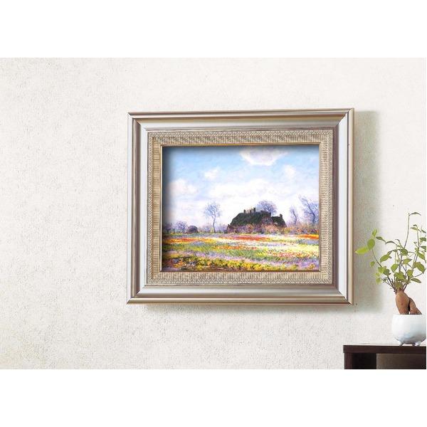 名画額縁/フレームセット 【F6AS】 モネ 「花畑」 477×571×59mm 壁掛けひも付き