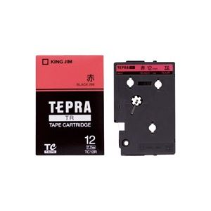 (業務用30セット) キングジム テプラTRテープ TC12R 赤に黒文字 12mm