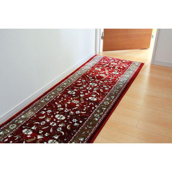 廊下敷き モケット織り 王朝柄 『オーク』 ワイン 約67×340cm 滑りにくい加工